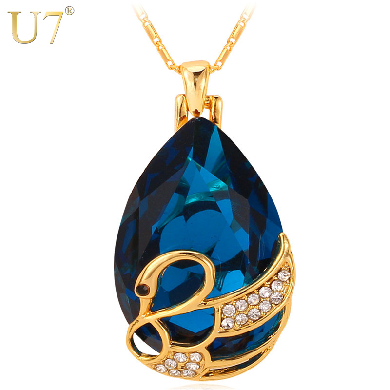 Swan Necklace ALP U7 Big Crystal Swan Necklaces & Pendants Blue/Red Stone Gold Color Elegant  Animal Charm Jewelry For Women Birthday Gift P483