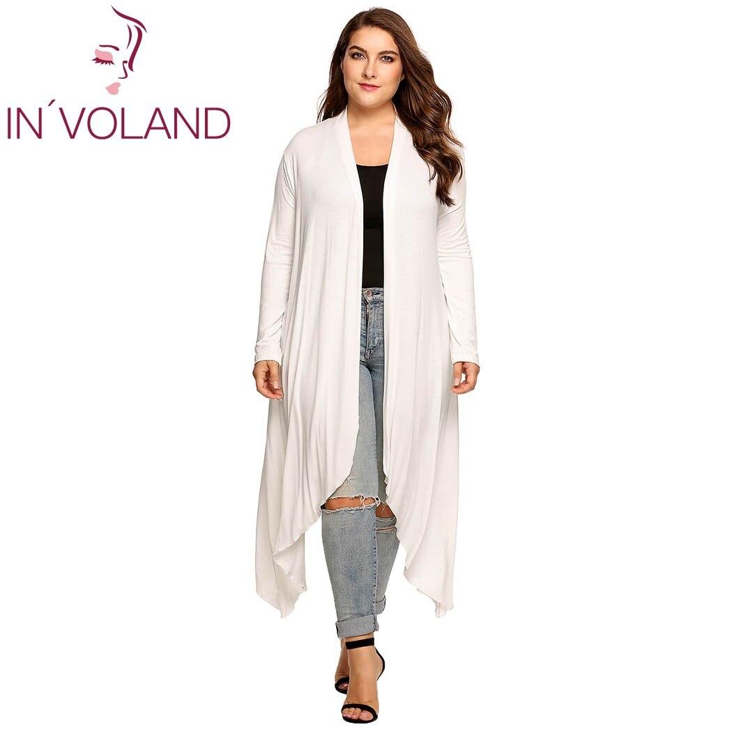 IN'VOLAND Femmes Cardigan Veste Plus La Taille Automne Open Front Solide Drapé Dame Grand Long Gros Pull Grand Surdimensionné L-5XL