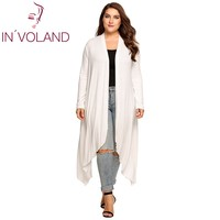 IN VOLAND Women Cardigan Plus Size Spring Autumn Long Sleeve Open Front Solid Draped Asymmetrical Lady