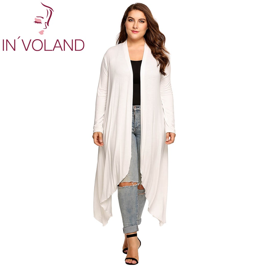 IN'VOLAND Women Cardigan Jacket Plus Size Autumn Open Front Solid Draped Lady Large Long Large Sweater Big Oversized L-5XL