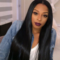 8A Straight Virgin Brazilian Hair Full Lace Wigs Full Length Density 180% Thick Silky Straight Lace Front Wigs Virgin Human Hair