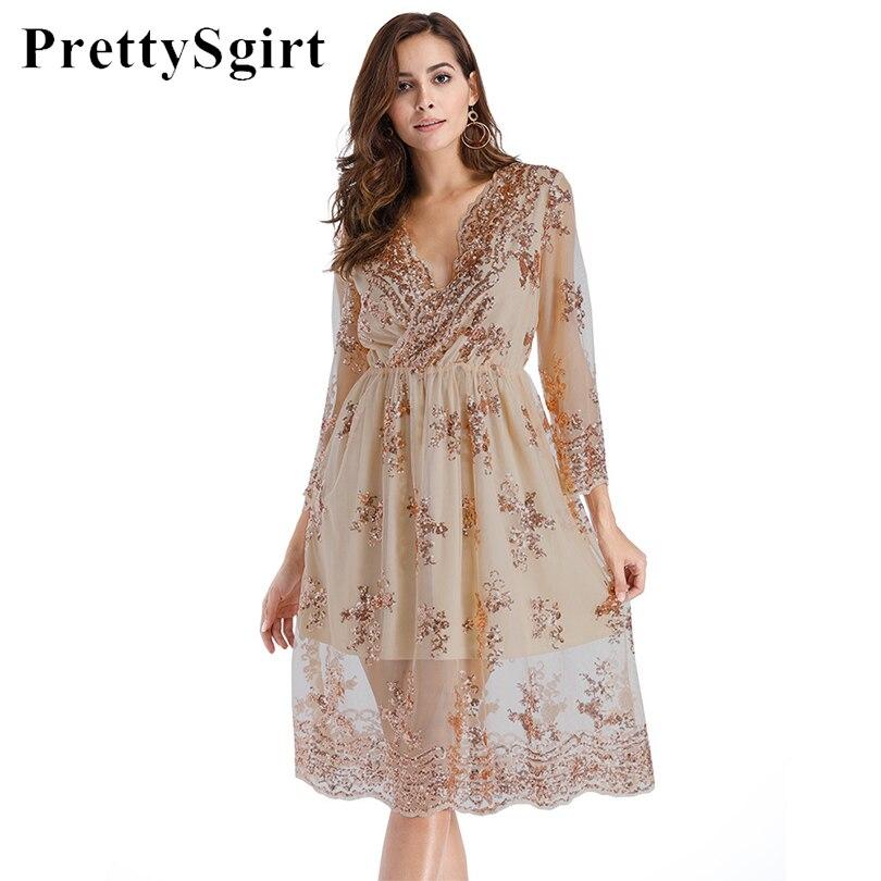 Mesh Sequin Dress Party V Neck Long Sleeve Loose Casual Women Midi Sheer