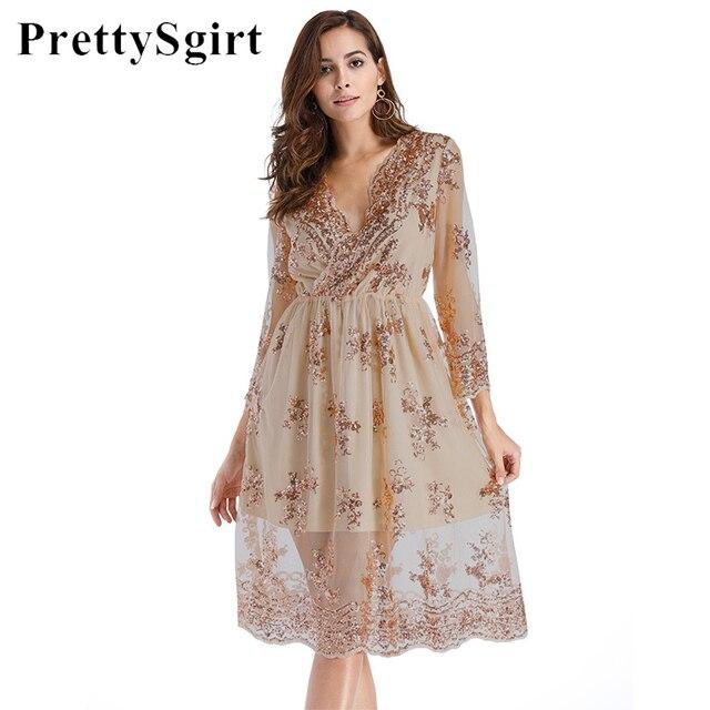 Mesh Sequin Dress Party V Neck Long Sleeve Loose Casual Women Midi Dress Sheer