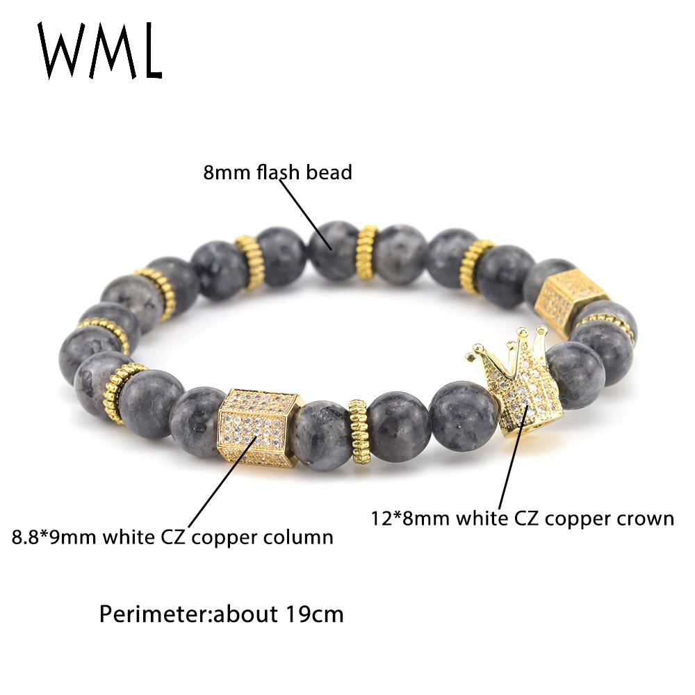 Luxury Crown Bracelet Micro Pave white CZ hexahedron charms natural stone beads men Bracelet bangles for men jewelry Pulseira in Charm Bracelets from Jewelry Accessories