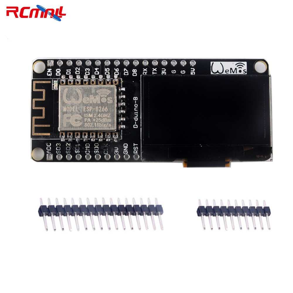 RCmall Wemos NODEMCU ESP8266 Wifi Wireless Module 1.3 IIC I2C OLED SH1106 LCD Display Micro USB for Arduino LUA IOT FZ2781