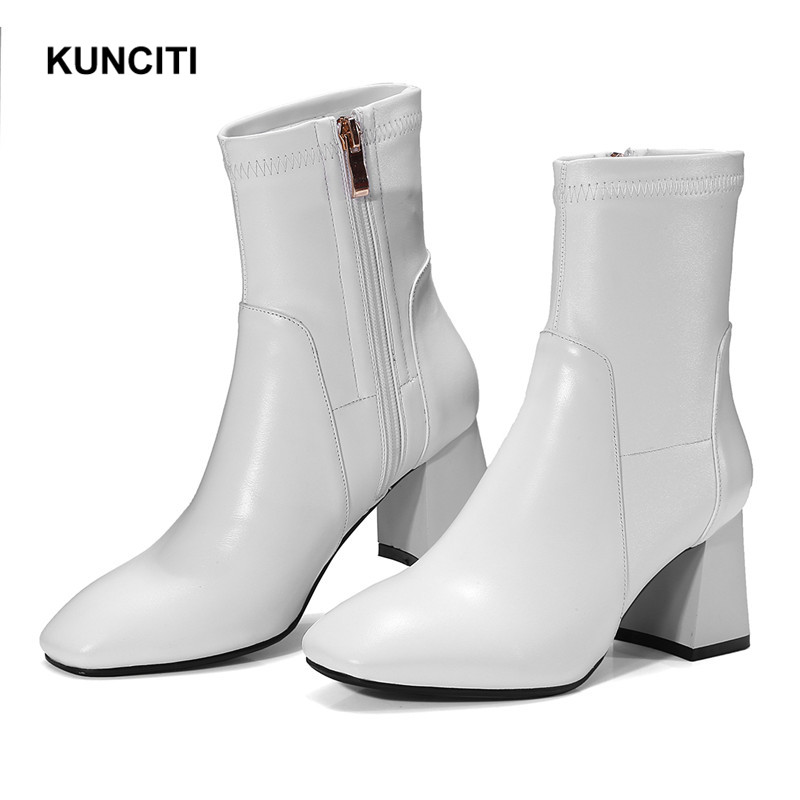 2019 KUNCITI Retro Style Leather Ankle Boots Women Square Toe White Genuine Leather Short Booties New