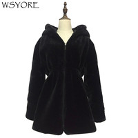 WSYORE Women Faux Fur Coat 2018 New Autumn Winter Plus Size Black Outwear Thick Double Sides Hooded Fur Jackets and Coats NS429