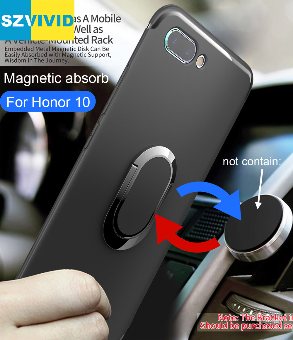 Ring Holder Case For Huawei Honor 10 Finger Grip Magnetic Suction absorb On Car Holder Bracket Soft Matte TPU Cover