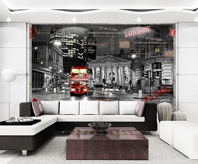 Custom 3d photo london night street design 3d wallpaper seamless large mural tv background 3d wall