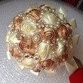 Envío Gratis Mano de La Novia Que Sostiene el Ramo de Perlas de Cristal Con Cuentas de Marfil de Seda Artificial Flores Color de Rosa Nupcial de La Boda Bouquet W226