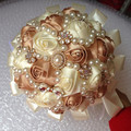 Free Shipping Artificial Bride Hand Holding Bouquet Crystal Pearls Beaded Silk Ivory Rose Flowers Bridal Wedding Bouquet  W226