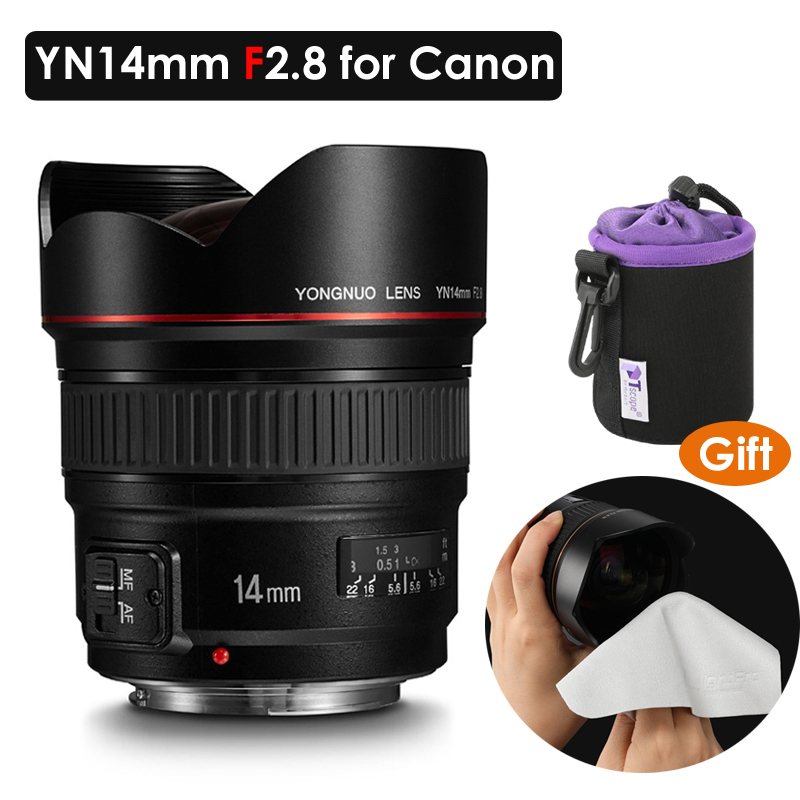 YONGNUO YN14mm F2.8 Ultra-wide Angle Prime <font><b>Lens</b></font> YN14mm Auto Focus AF MF Metal Mount <font><b>Lens</b></font> for <font><b>Canon</b></font> 700D <font><b>80D</b></font> 5D Mark III IV image