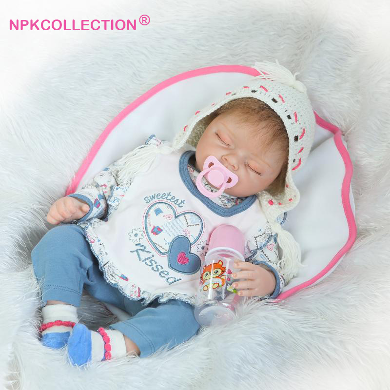 55cm Silicone Reborn Baby Doll Toys with Free Pacifier 22 Collectible Princess Girl Dolls Lovely Birthday Gift Girls Brinquedos 22 inches sweet girl dolls brown hair 55cm doll reborn baby lovely toys cute birthday gift for girls as american girl