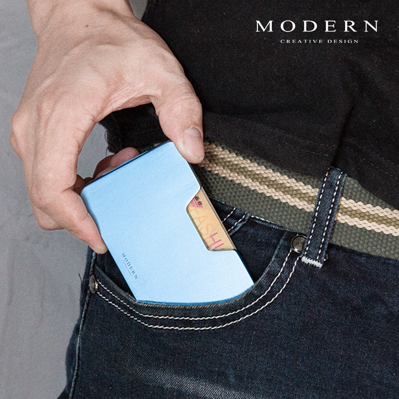 Купить с кэшбэком Modern - Brand Aluminum Minimalist Men Wallet Card Holder Elastic Rfid Blocking Mini Wallet Organizer Slim Card Case