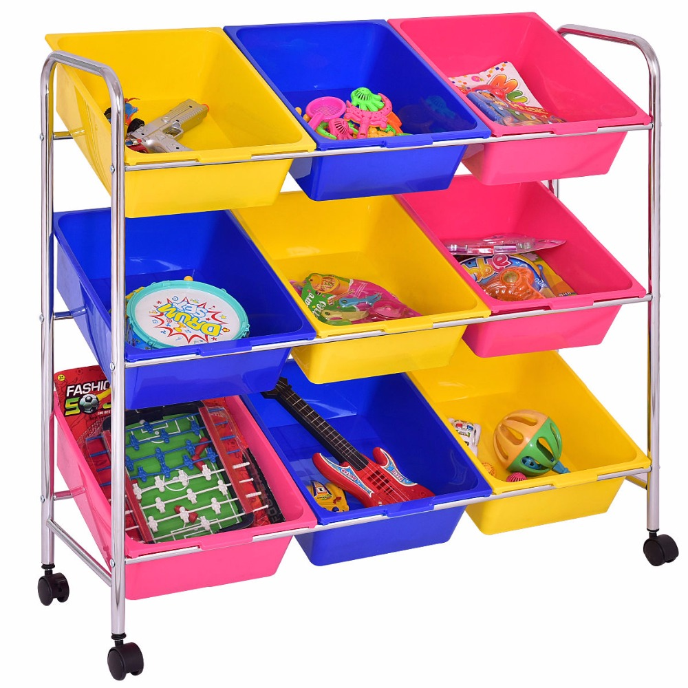 Goplus Kids Toy Bin Cart Rack Toys Organizer Childrens Storage Box Playroom Bedroom Shelf Baby Rolling Trolley Cart HW55258