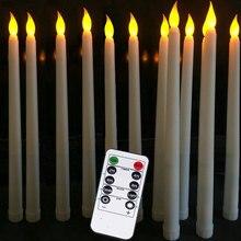 Pacote de 12 velas remotas ou não remotas do atarraxamento da bateria com temporizador, cintilando velas amarelas do casamento da bateria da luz para mariageVelas