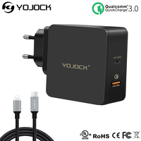 Yojock 48W USB PD Charger Fast Charger Type C Power Delivery Quick Charge 3.0 Adapter Travel Wall Chargers for iPhone X Xiaomi