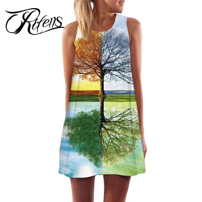 Urifens New 2018 Summer Style Women Sleeveless Vintage Dresses 3D Floral Print Casual Loose Sexy Chiffon Dashiki Boho Dress LS06