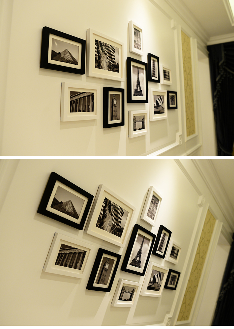 11 pcs Black & White Scenery Wall Hanging Photo Frames Set Picture ...