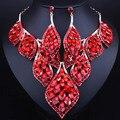 Moda pena projeto banhado a ouro de cristal colar de declaração e brincos de luxo africano conjuntos de jóias de casamento dubai