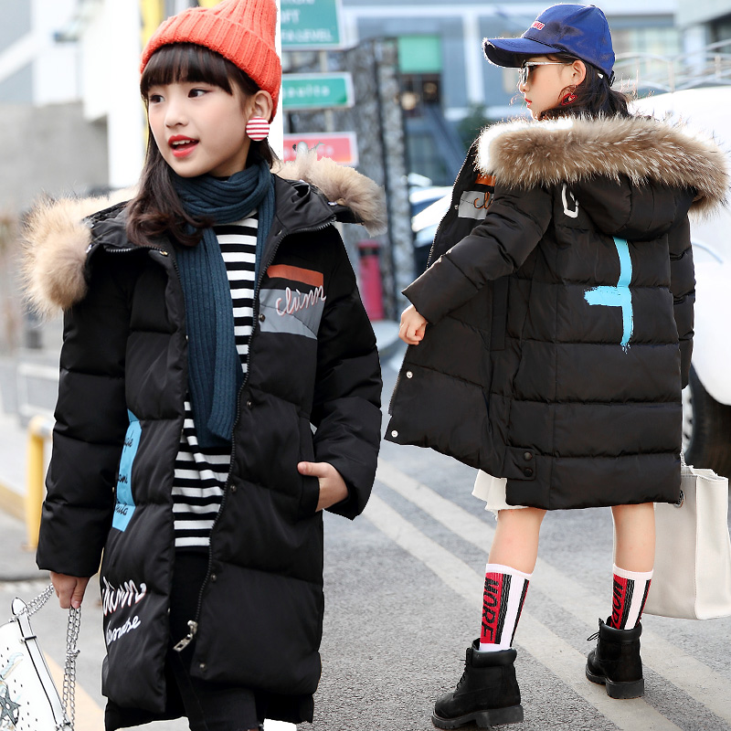 Girl Winter Coat 2017 New Fashion Children Winter Jacket Kids Warm Thick Fur Collar Hooded long down Coats For Teenage 6Y-15Y 2017 new winter cotton coat women long loose thick warm jacket fashion hooded fur collar female big pocket parkas