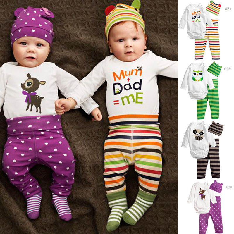 3PCS Infant Kids Baby Girl Off Shoulder Cartoon Letter Tops Tee Pants Outfit Set