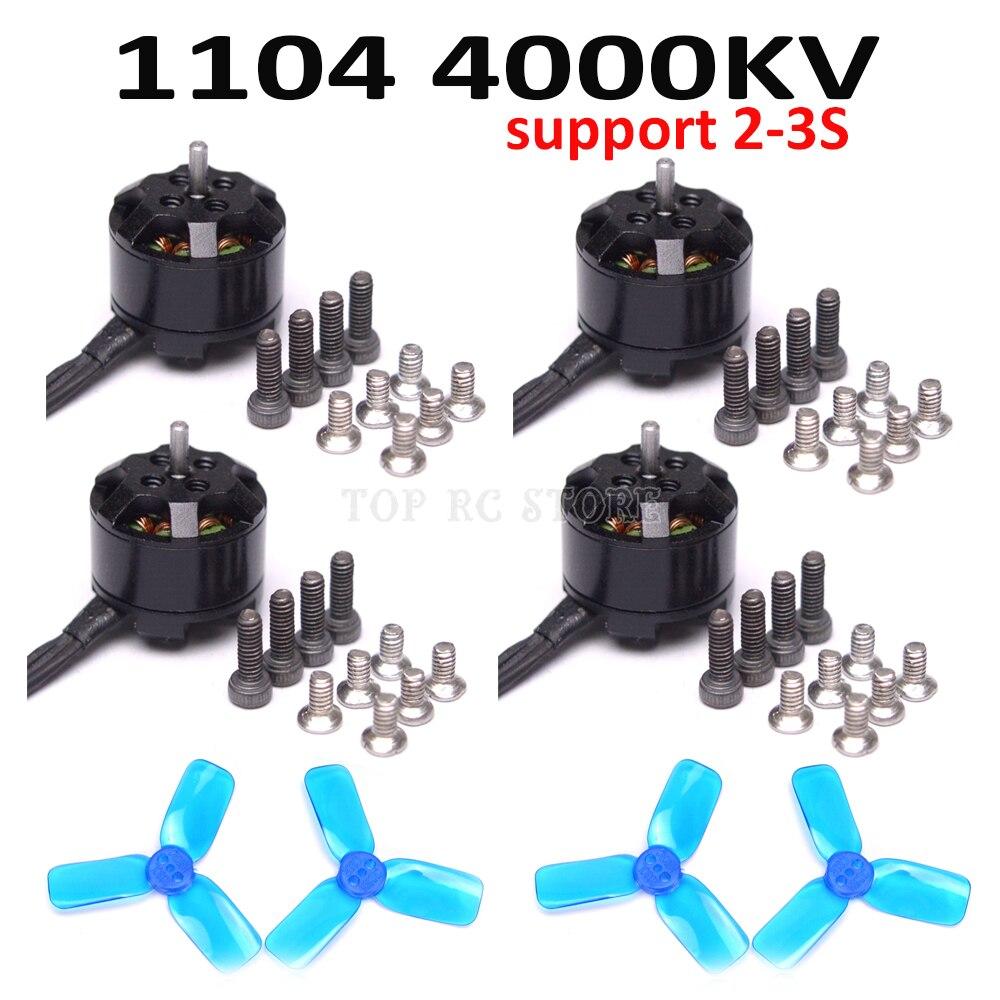 4 pièces Mini 1104 4000KV moteur sans brosse 2-3 S support 2030 hélice à 3 lames pour Mini 90 100 FPV quadrirotor
