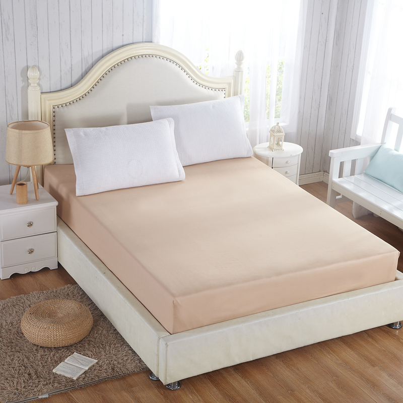 Simple Solid Quilting Mattress Cover Bed Protection Pad Cotton Fabric Fitted Sheet 30cm Height/Depth Customizing Size