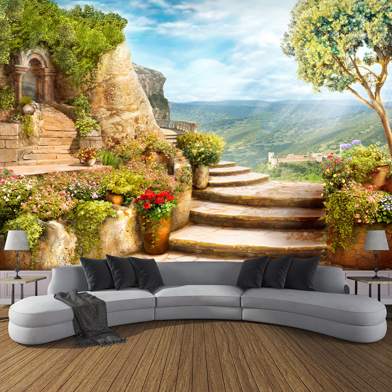 Custom 3D Photo Wallpaper European Garden Nature Landscape Large Murals Bedroom Living Room Backdrop Wall Mural Papel De Parede custom children wallpaper multicolored crayons 3d cartoon mural for living room bedroom hotel backdrop vinyl papel de parede