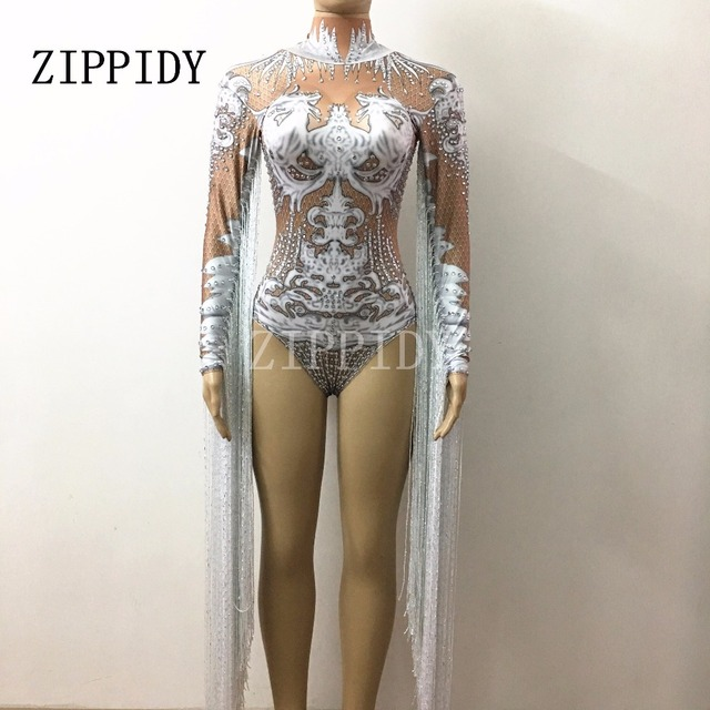 White Tassel Crystals Leotard Women's Stretch Bodysuit Outfit Bling Long Sleeves Tassel Nightclub Sparkly Costume Dance Wear