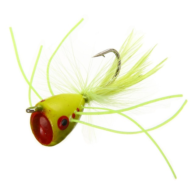 Best Price 3Pcs/Set Popper Fly Chartreuse Head With Hook Chartreuse Topwater Popper Bass Fishing Lure Fly Bass Trout For Fishing Tackle