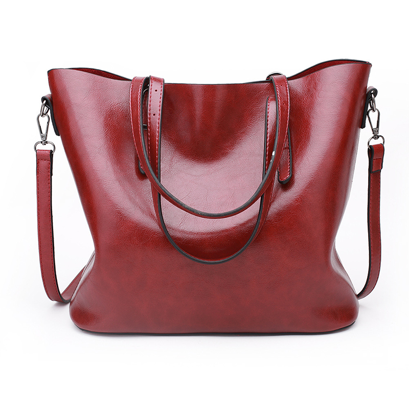 Handbags Women Oil Wax Leather Women Shoulder Bag Fashion Large Capacity Tote Bag Casual Pu Leather Women's Messenger Bag WBS541