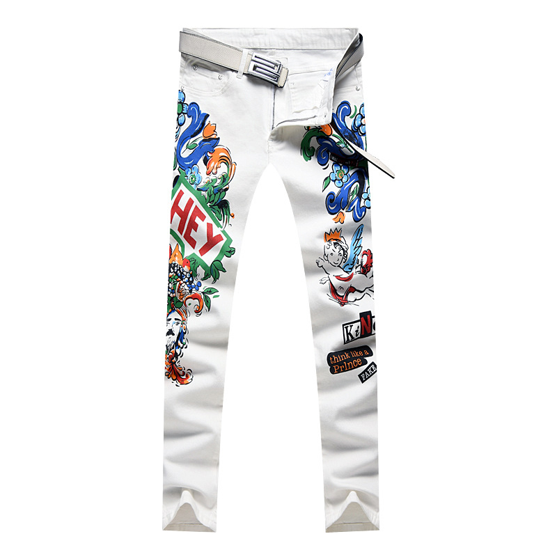 Sokotoo Men's Colored Flower Printed White Jeans Fashion Slim Skinny Letters Angle Painted Stretch Denim Pants