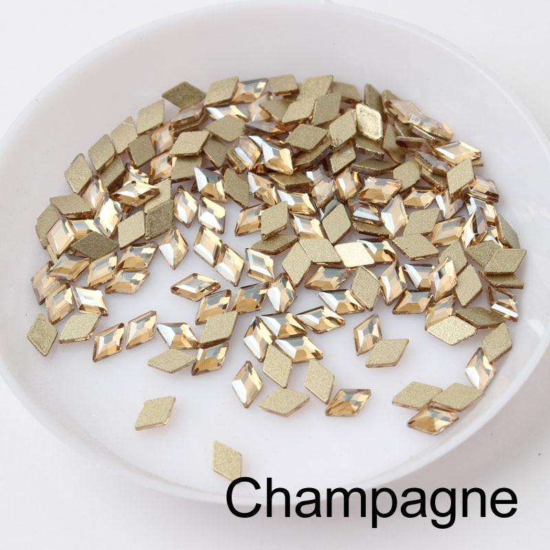 30/100 шт./лот ногтей Стразы 3x5 мм Flatback ромб с цветными камнями для 3D нейл-арта украшения - Цвет: Champagne