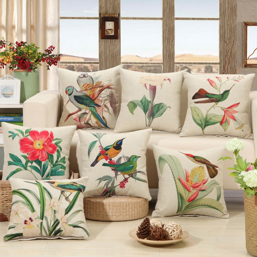 American Country Vintage Cushion Covers Flowers And Birds Pattern Sofa Throw Pillows Cotton Linen Office Car Square Pillowcase