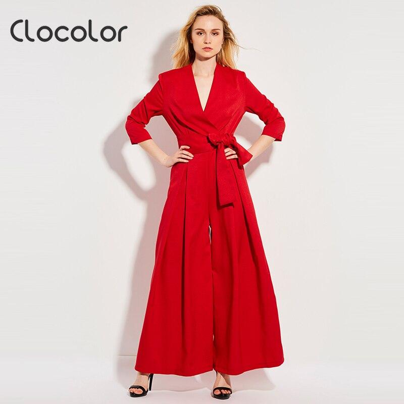 Clocolor woman wide leg jumpsuit red bowknot belt Vneck rompers causal elegent long loose graceful 2017fashion female jumpsuits