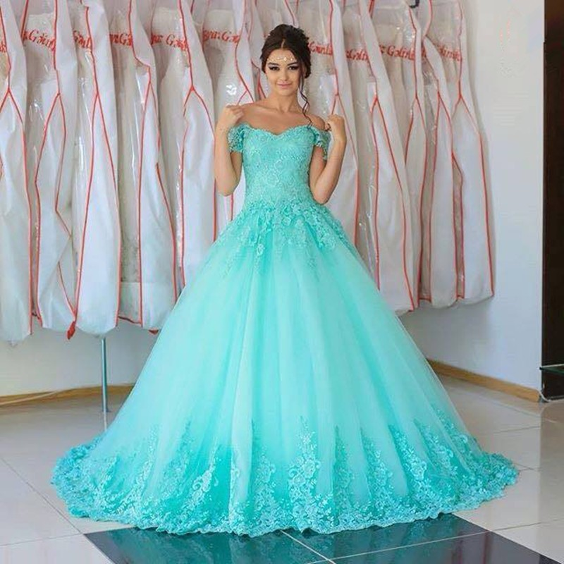Light Sky Blue Color Wedding Dresses Lace Liques Ball Gowns Sweetheart Long Bridal Handwork Robe Mariage Dress In From