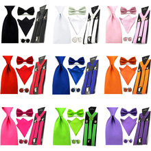 Men Solid Satin Bowtie 8cm Necktie Pocket Square Hanky Suspender Cufflinks Set BWSET0057