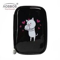 Aosbos Women PU Leather Cat Cosmetic Bags Cute Cartoon Zipper Makeup Bags Fashion Black Cosmetic Bag