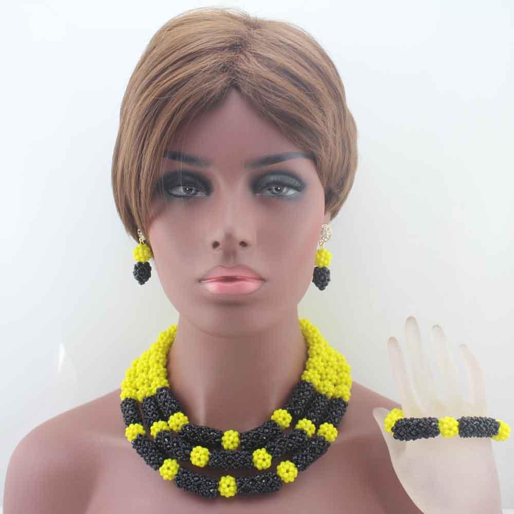 Costume femme jaune et noir perles africaines ensemble de bijoux indien nigérian perles de mariage bijoux déclaration collier ensemble W13604