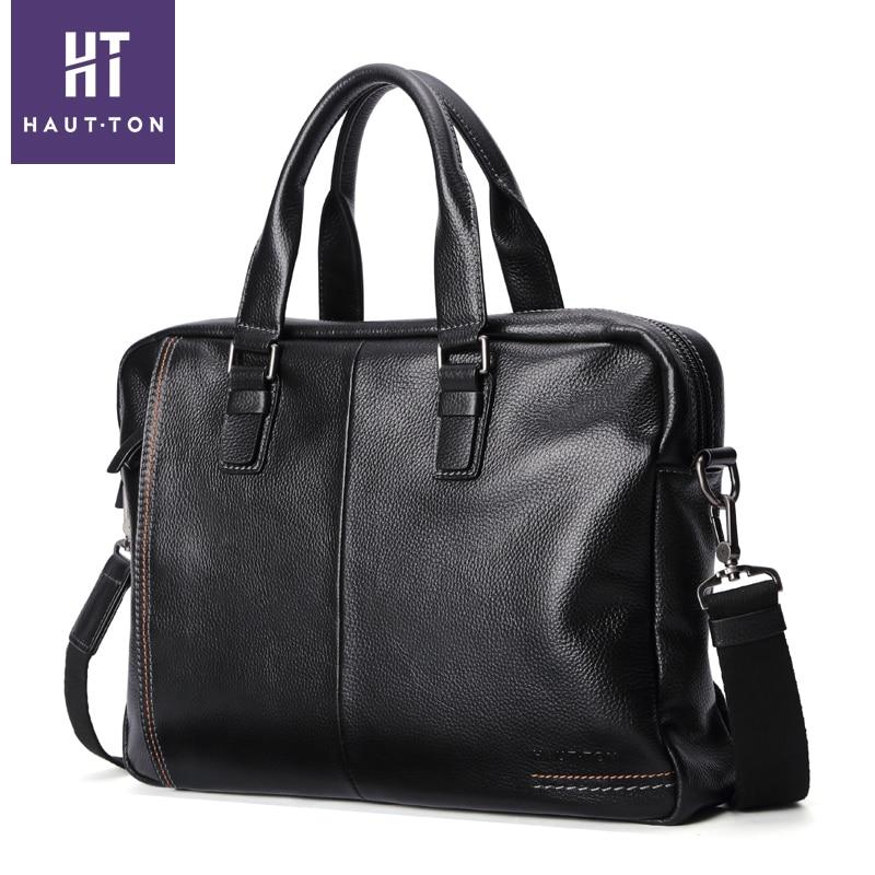 Haut ton luxury genuine leather bag brand handbag shoulder messenger bags men briefcase business laptop bag