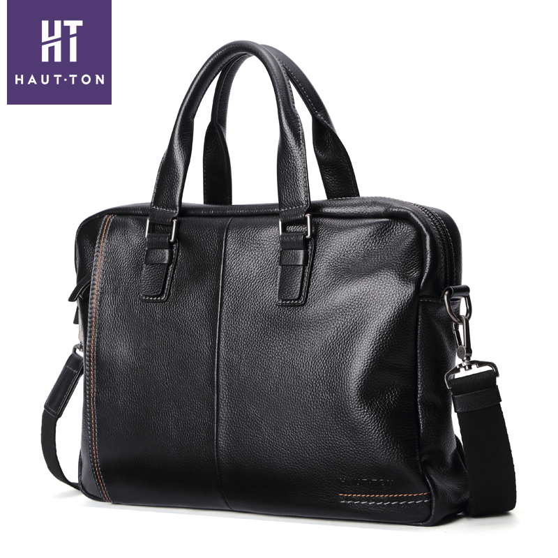 Haut ton luxury genuine leather bag brand handbag shoulder messenger bags men briefcase business laptop bag high quality safe reflective vest belt for women girls night running jogging biking