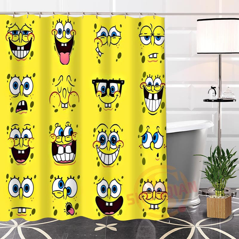 fashion custom spongebob2 fabric shower curtain bathroom waterproof hot popular modern 100 polyester h0223 94 in shower curtains from home garden on - Spongbob 2