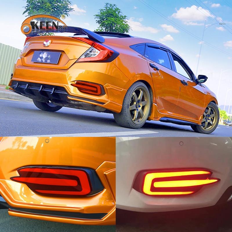 Okeen автомобиль-Стайлинг 2 шт. для Honda Civic 2016-2017 автомобилей светодиодный задний бампер Отражатели света хвост сзади лантер Универсальный прот...