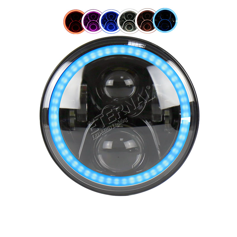 50W RGB 7inch <font><b>led</b></font> <font><b>headlight</b></font> offroad headlamp remote halo colors for Wrangler Rubicon 4&#215;4 truck trailer motorcycle H4 H13 lamp