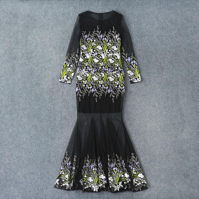 Embroidery Mermaid Long runway Dress