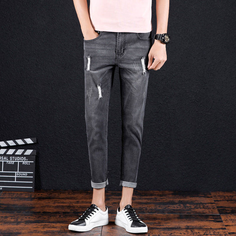 Mens 100% cotton denim jeans fashion stretch gray high quality summer jeans loose overalls mens classic wild long section