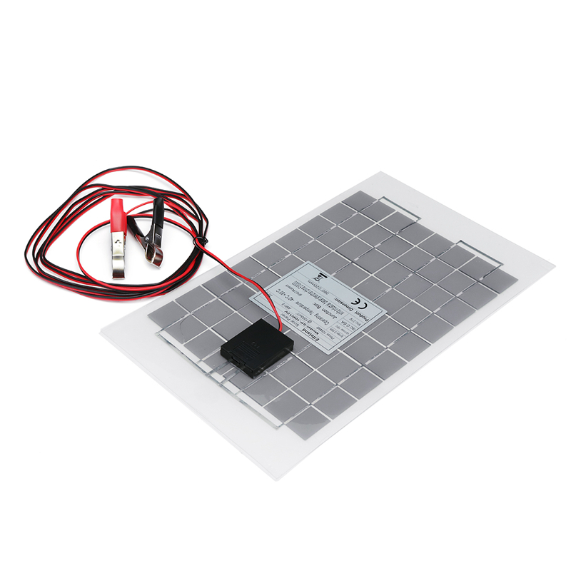 LEORY 12V 10W PolyCrystalline Transparent Epoxy Cells Solar Panel DIY Solar Module with block diode+2 Alligator Clips+4m Cable