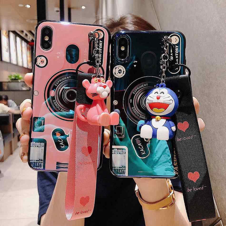 Voor Samsung Galaxy A6 A8 Plus A5 A7 2018 A9 Lite Leuke Cartoon Pink Panther Stander Strap Lanyard Cover Blu-ray camera Soft Case