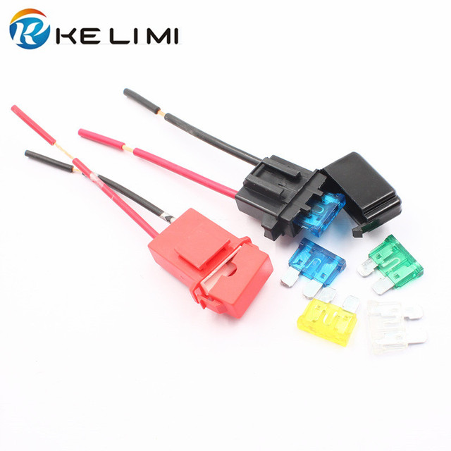 ke li mi high quality black/red auto fuse box holder fastener car fuse  cutout socket clips adapter for mid fuse